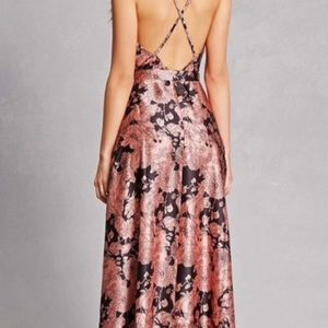Lulu's Dresses - Lulus Tea Gardens Rusty Rose Floral Maxi Dress